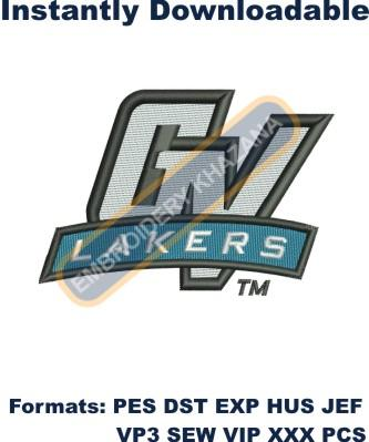 Gv Lakers logo embroidery design